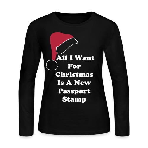 All I Want For Christmas Santa Hat Black Long Sleeve Tee - Women's Long Sleeve Jersey T-Shirt