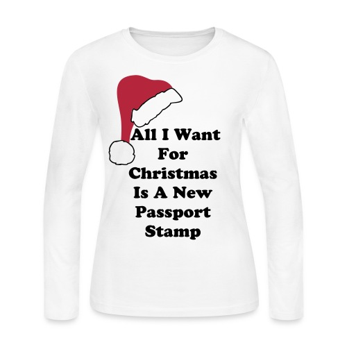 All I Want For Christmas Santa Hat Long Sleeve Tee - Women's Long Sleeve Jersey T-Shirt