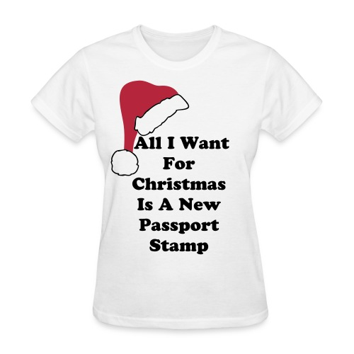 All I Want For Christmas Santa Hat Tee - Women's T-Shirt