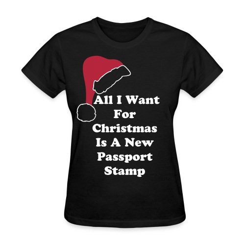 All I Want For Christmas Santa Hat Black Tee - Women's T-Shirt