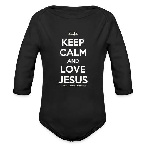 Keep Calm and Love Jesus Longsleeve   (Infant) White Print - Organic Long Sleeve Baby Bodysuit
