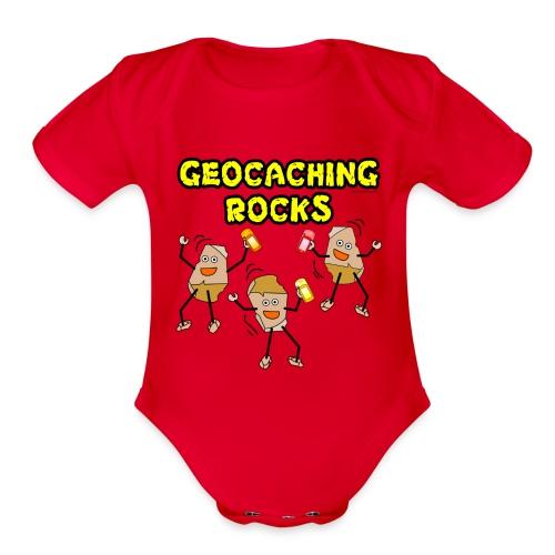 Three Geocaching Rocks - Organic Short Sleeve Baby Bodysuit
