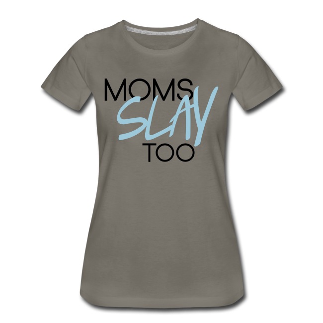 Moms Slay Too Tee (Grey/Blue)