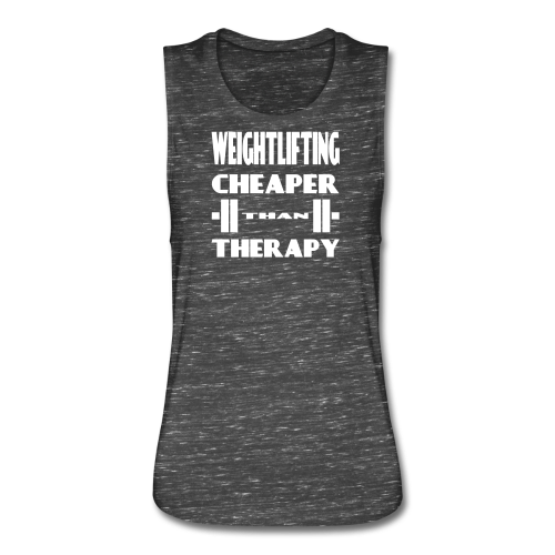 Weightlifting Cheaper Than Therapy - Women's Flowy Muscle Tank by Bella