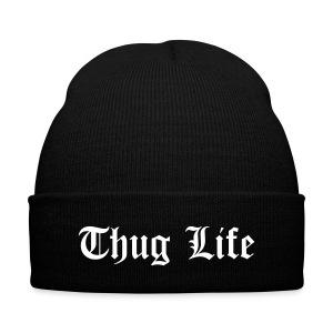Thug Life Beanie - Knit Cap with Cuff Print