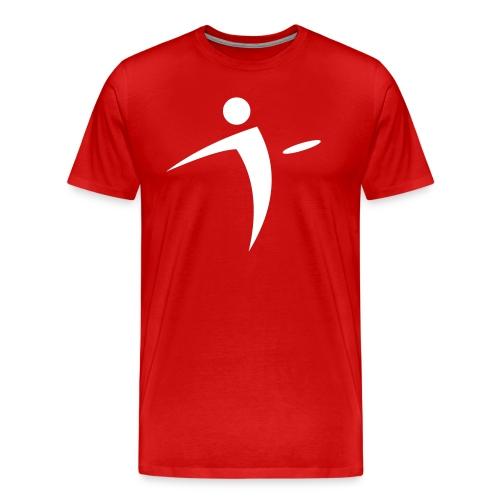 Nano Disc Golf White on Red Premium T-Shirt - Men's Premium T-Shirt