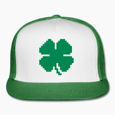 8 Bit Luck Pixel Four Leaf Clover Caps