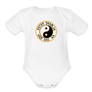 Enter Shaolin Baby Short Sleeve T-shirt Onsie in White (Front Logo) - Short Sleeve Baby Bodysuit
