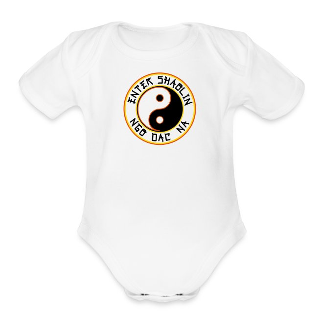 Enter Shaolin Baby Short Sleeve T-shirt Onsie in White (Front Logo & Back Logo)
