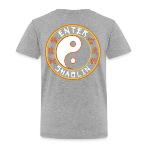 Enter Shaolin Toddler Short Sleeve T-shirt in Heather Gray (Front Logo & Back Logo in White Lettering) - Toddler Premium T-Shirt