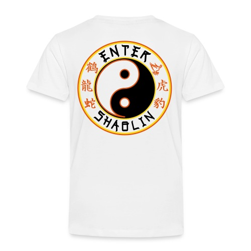 Enter Shaolin Toddler Short Sleeve T-shirt in White (Front Logo & Back Logo) - Toddler Premium T-Shirt