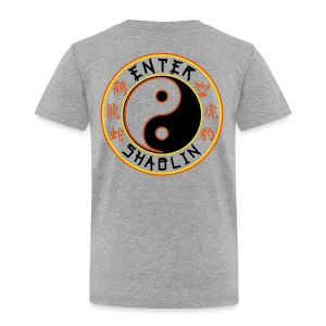 Enter Shaolin Toddler Short Sleeve T-shirt in Heather Gray (Front Logo & Back Logo in Black Lettering) - Toddler Premium T-Shirt