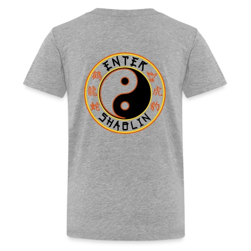 Enter Shaolin Kids T-Shirt in Heather Gray (Front + Back Logo in Black Lettering) - Kids' Premium T-Shirt