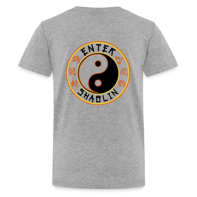 Enter Shaolin Kids T-Shirt in Heather Gray (Front + Back Logo in Black Lettering)