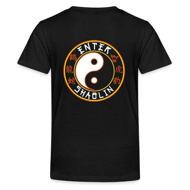 Enter Shaolin Kids T-Shirt in Black (Front + Back Logo)