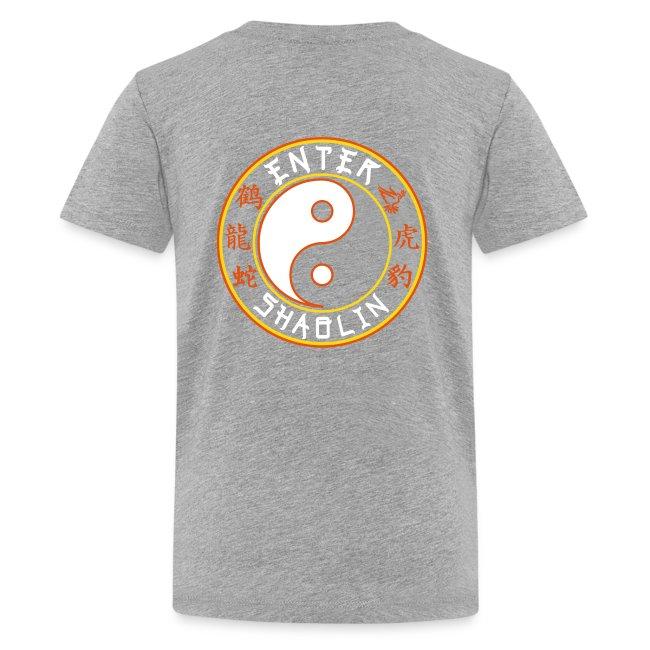 Enter Shaolin Kids T-Shirt in Heather Gray (Front + Back Logo in White Lettering)