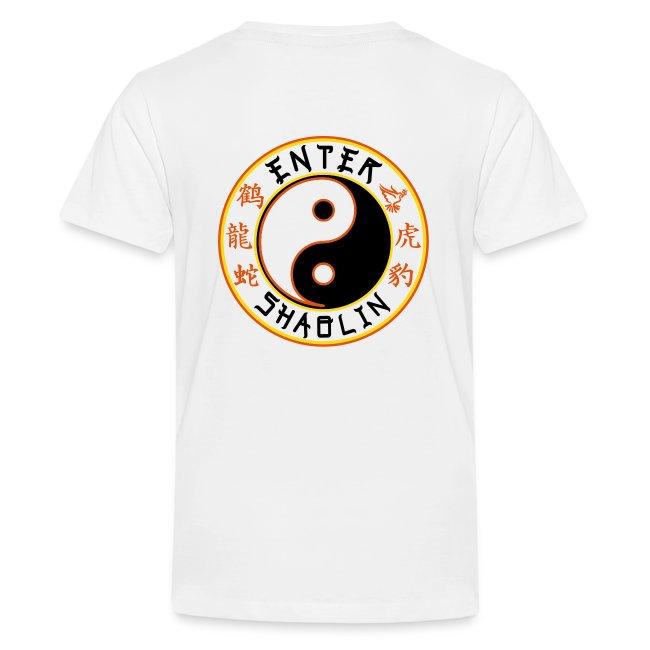 Enter Shaolin Kids T-Shirt in White (Front + Back Logo)