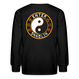 Enter Shaolin Kids Long Sleeve T-Shirt in Black (Front Logo + Back Logo) - Kids' Long Sleeve T-Shirt