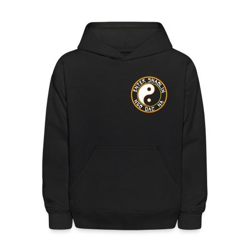 Enter Shaolin Kids Unisex Hoodie Pullover in Black (Front Logo + Back Logo + Don't Let Style Define You, Let Energy Refine You) - Kids' Hoodie
