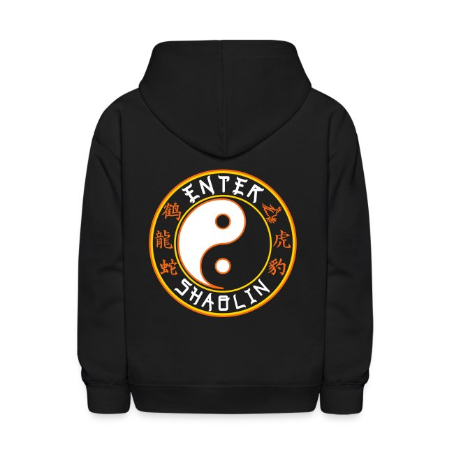 Enter Shaolin Kids Unisex Hoodie Pullover in Black (Front Logo + Back Logo + Don't Let Style Define You, Let Energy Refine You)