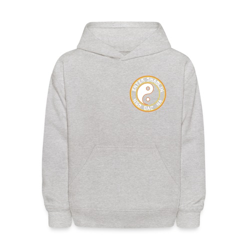 Enter Shaolin Kids Unisex Hoodie Pullover in Heather Gray (Front Logo + Back Logo + Don't Let Style Define You, Let Energy Refine You in White Lettering) - Kids' Hoodie