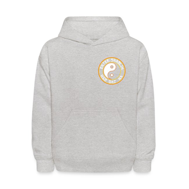 Enter Shaolin Kids Unisex Hoodie Pullover in Heather Gray (Front Logo + Back Logo + Don't Let Style Define You, Let Energy Refine You in White Lettering)