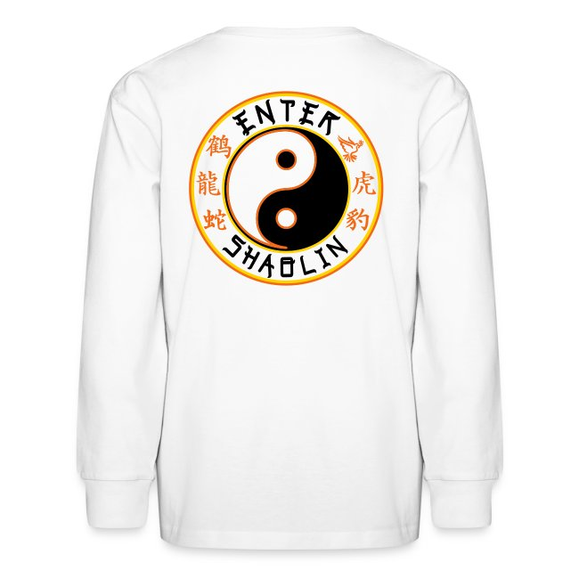 Enter Shaolin Kids Long Sleeve T-Shirt in White (Front Logo + Back Logo)