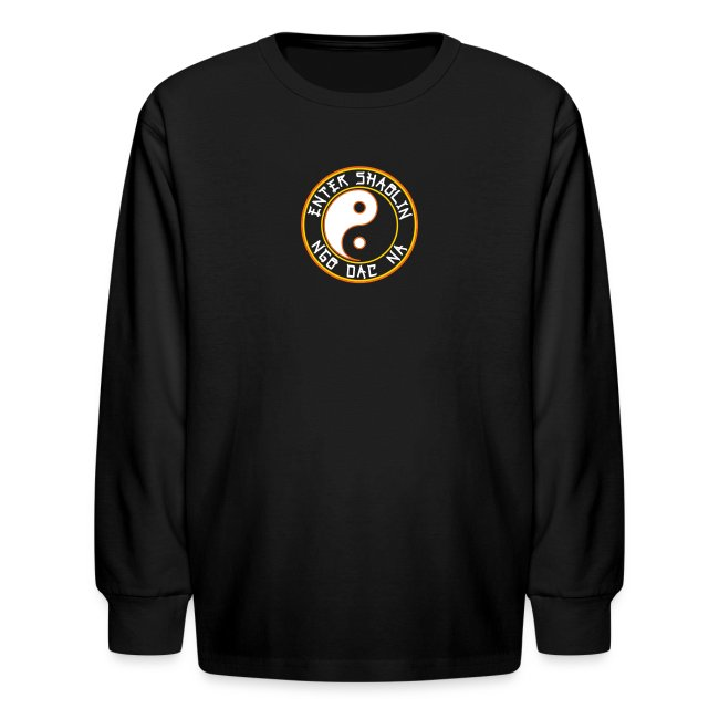 Enter Shaolin Kids Long Sleeve T-Shirt in Black (Front Logo)