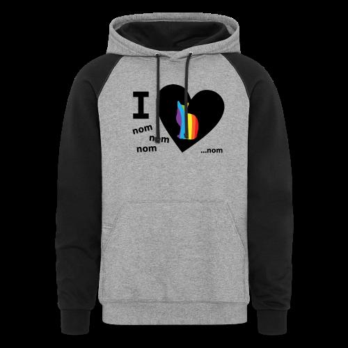 I Love Pussy Nom LGBT Funny Pride - Colorblock Hoodie
