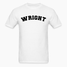 wright name surname sports jersey curved t-shirt