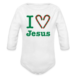 I Heart Jesus - Long Sleeve Baby Bodysuit