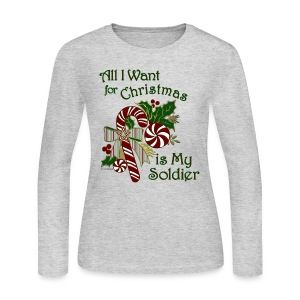 Army All I Want for Christmas is My Soldier Long Sleeve Jersey Shirt - Women's Long Sleeve Jersey T-Shirt
