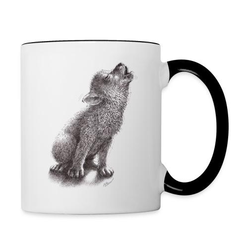 Funny Howling Wolf - Contrast Coffee Mug