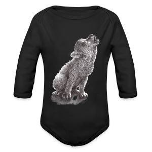 Funny Howling Wolf - Long Sleeve Baby Bodysuit