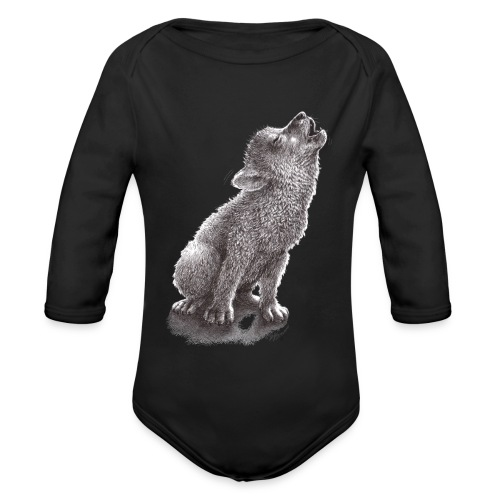 Funny Howling Wolf - Organic Long Sleeve Baby Bodysuit