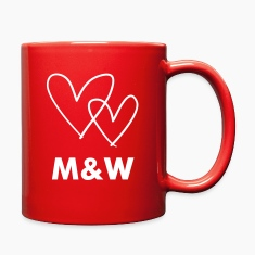 Monogrammed red interlocked love hearts coffee mug
