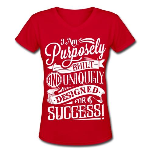 Ladies Purpose Tee Red - Women's V-Neck T-Shirt