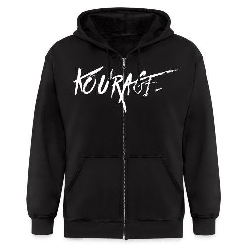 Men's Kourage Grunge Zipped Hoodie - Men's Zip Hoodie