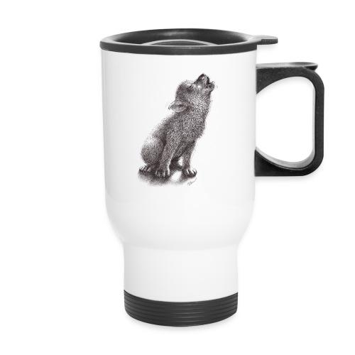 Funny Howling Wolf - Travel Mug