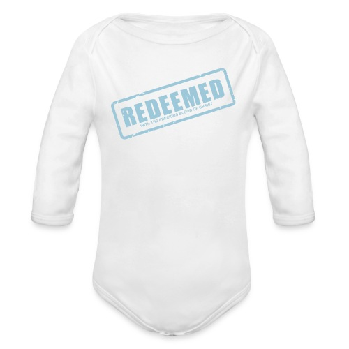 Redeemed with the precious blood of Christ - Organic Long Sleeve Baby Bodysuit