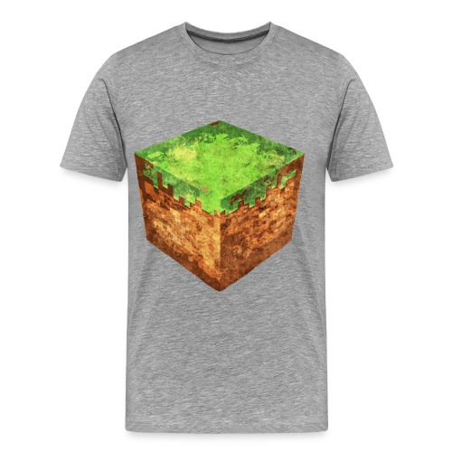Mens Grey MINECRAFT DIRT BLOCK T-shirt - Men's Premium T-Shirt