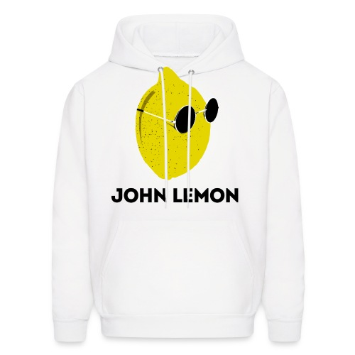 Men's Hoodie 'JOHN LEMON' White Cartoon Style - Men's Hoodie