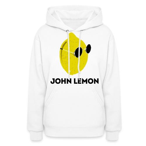 Women's Hoodie 'JOHN LEMON' White Cartoon Style - Women's Hoodie