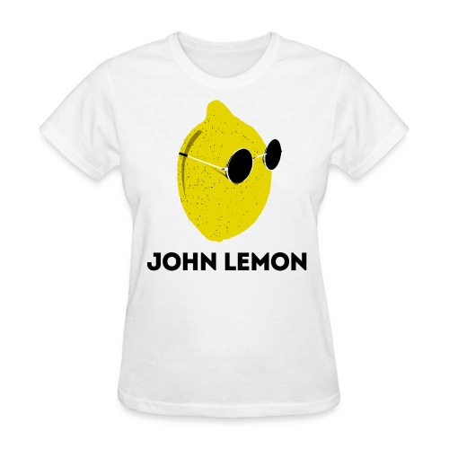 Women's T-Shirt 'JOHN LEMON' White Cartoon Style - Women's T-Shirt
