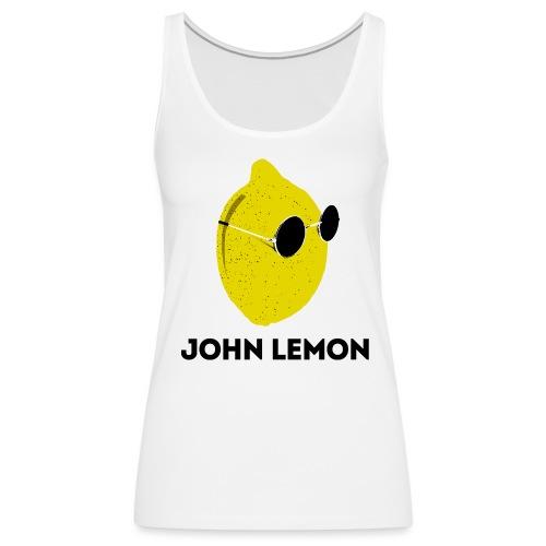 Women's Tank Top 'JOHN LEMON' White Cartoon Style - Women's Premium Tank Top