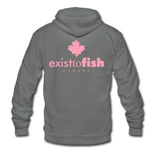 Exist To Fish Premium Women's Zip Up Hoodie - Unisex Fleece Zip Hoodie by American Apparel