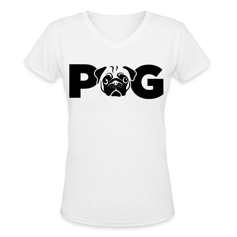 Pug Face - Women's V-Neck T-Shirt