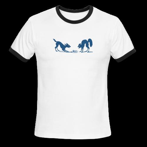 Dog vs Cat Food Fight - Men's Ringer T-Shirt