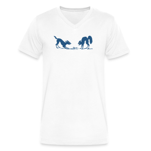 Dog vs Cat Food Fight - Men's V-Neck T-Shirt by Canvas