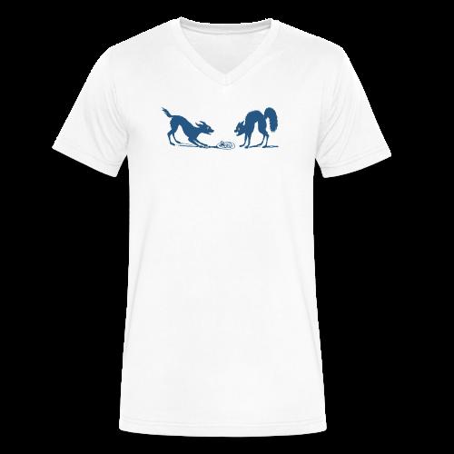 Dog vs Cat Food Fight - Men's V-Neck T-Shirt by Canvas